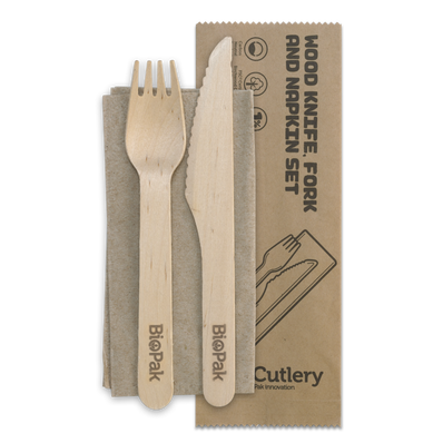 16cm Coated Wood Knife,Fork,Napkin Set