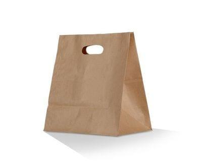 Brown Diecut Handle Takeaway Bag
