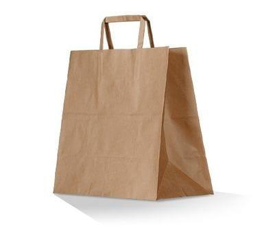 Medium Flat Handle Brown Takeaway Bag