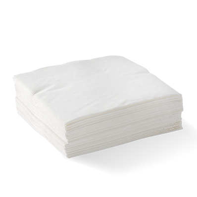 2 Ply 1/4 Fold White Corner Embossed Dinner Bionapkin