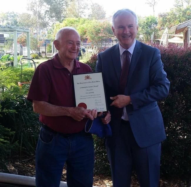 MENS SHED VOLUNTEER WINS COMMUNITY SERVICE AWARD