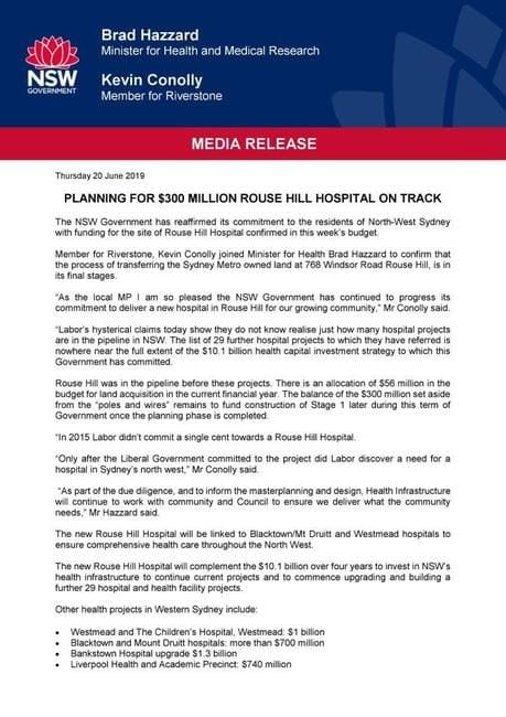 JOINT MEDIA RELEASE - PLANNING FOR $300 MILLION ROUSE HILL HOSPITAL ON TRACK