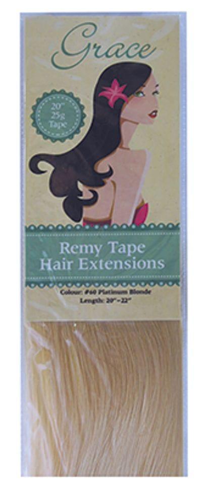 "Grace Remy Tape Hair Extensions 20"" 25g #60 Platinum Blonde"