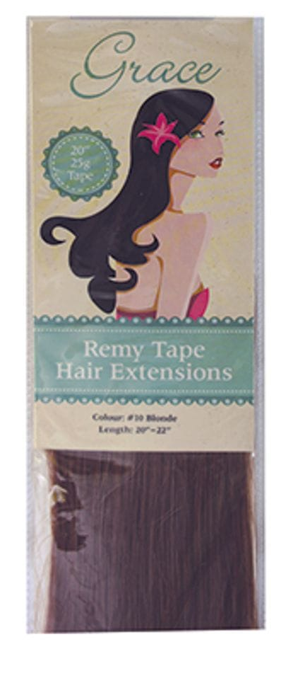 "Grace Remy Tape Hair Extensions 20"" 25g #10 Blonde"