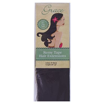 "Grace Remy Tape Hair Extensions 20"" 25g #1 Black"