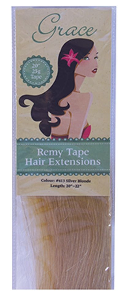 """Grace Remy Tape Hair Extensions 20"""" 25g #613 Silver Blonde"""