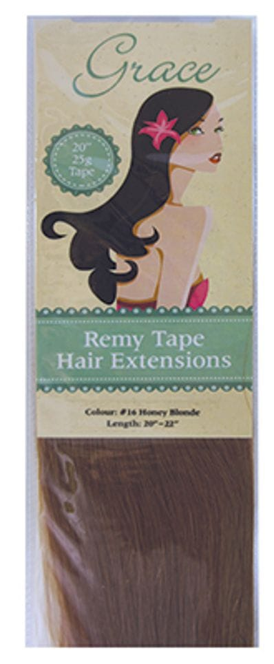 "Grace Remy Tape Hair Extensions 20"" 25g #16 Honey Blonde"