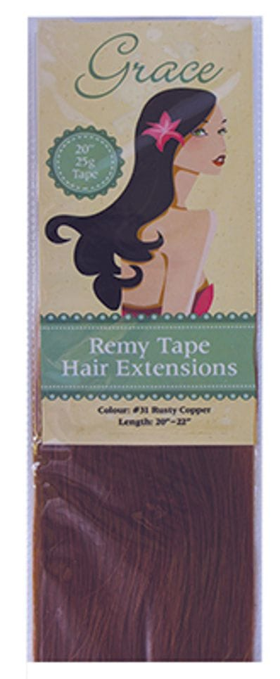 """Grace Remy Tape Hair Extensions 20"""" 25g #31 Rusty Copper"""