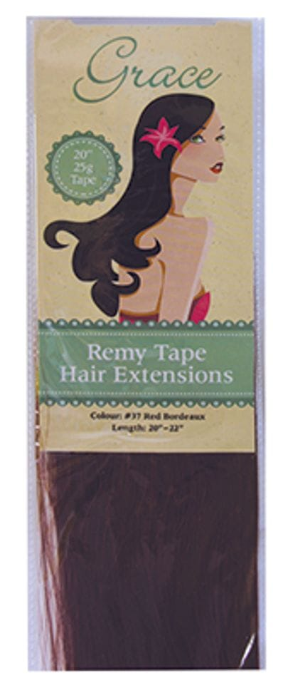 """Grace Remy Tape Hair Extensions 20"""" 25g #37 Red Bordeaux"""