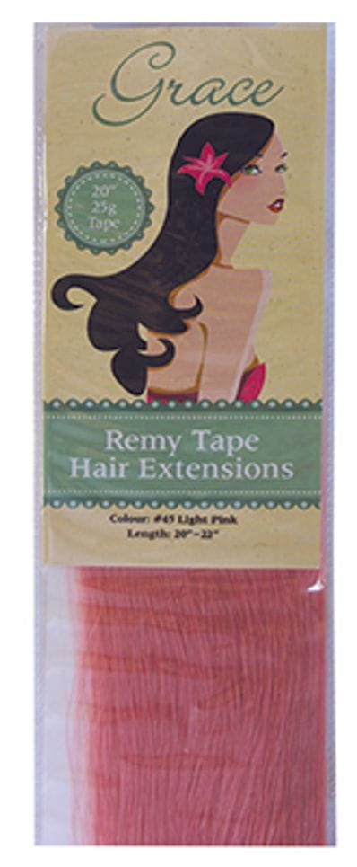 """Grace Remy Tape Hair Extensions 20"""" 25g #45 Light Pink"""