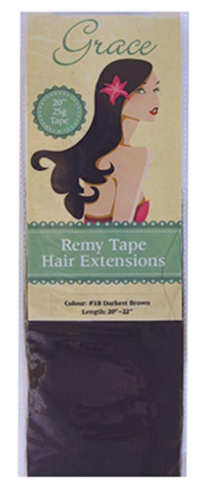 "Grace Remy Tape Hair Extensions 20"" 25g #1B Darkest Brown"