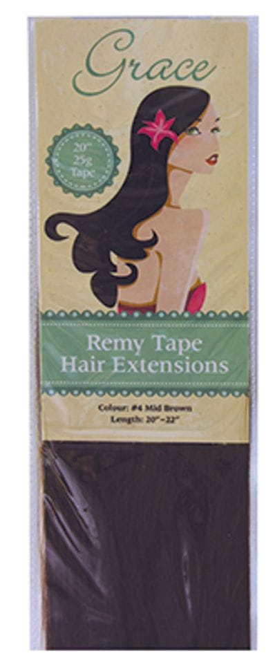 "Grace Remy Tape Hair Extensions 20"" 25g #4 Mid Brown"