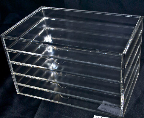 Acrylic Perspex Clear 5 Tier Jewellery Box.Diamond Grade Polished.