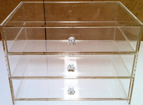 Acrylic Clear Perspex 3 Tier Jewellery Box with handle. Diamond Grade POLISHED