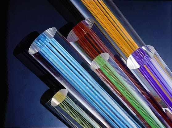 Acrylic Extruded Clear Rod With Blue Line Dia.35mm x 1M long