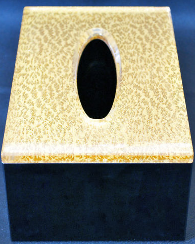 Acrylic Tissue Box holder with Gold Pattern Perspex box