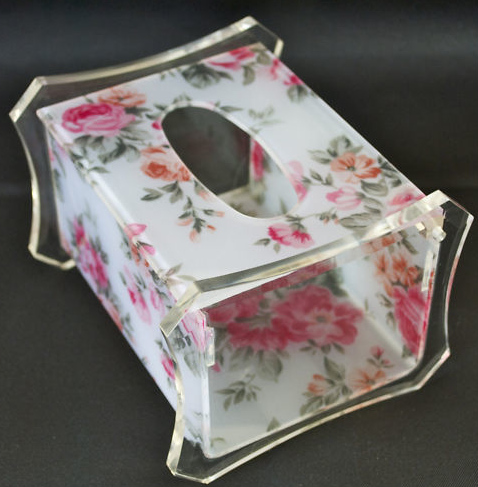 Acrylic Tissue Box holder with Red Flower Pattern paper