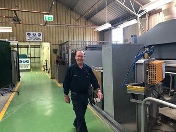 Mostyne Hosking all smiles because of the new welders Cert Bays progress
