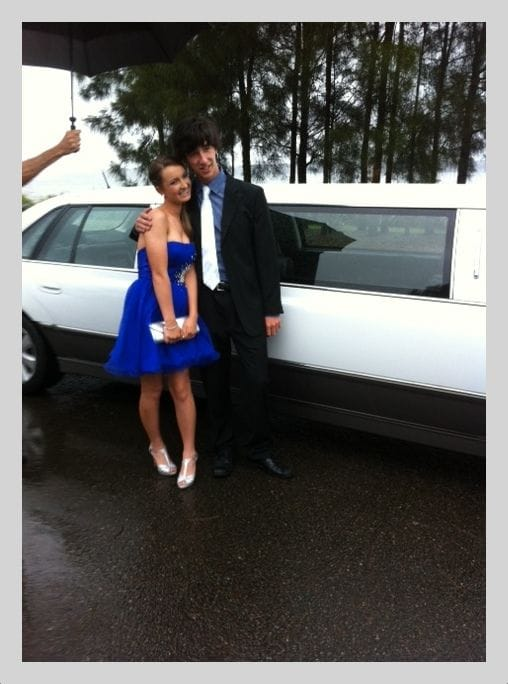 Happy formal goers hiring a limo in Newcastle