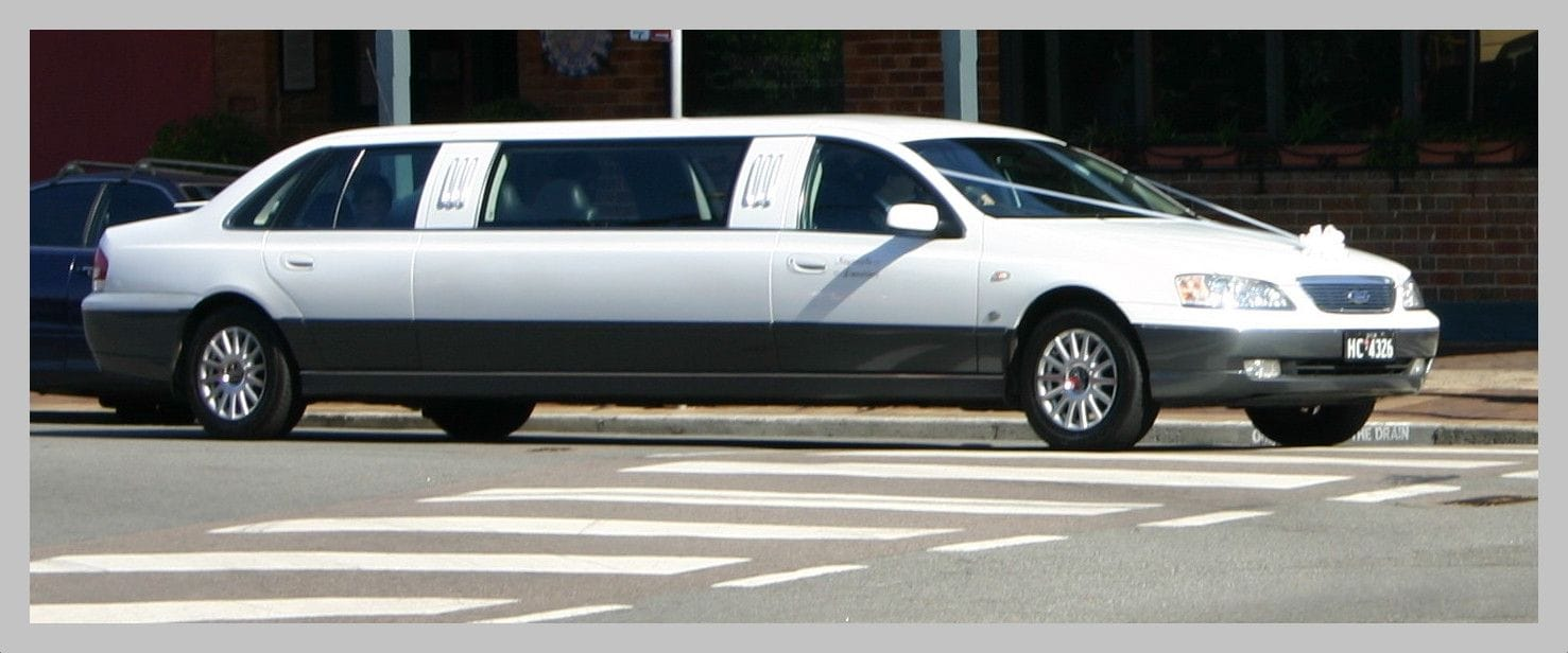 White limousine for wedding transport in Newcastle