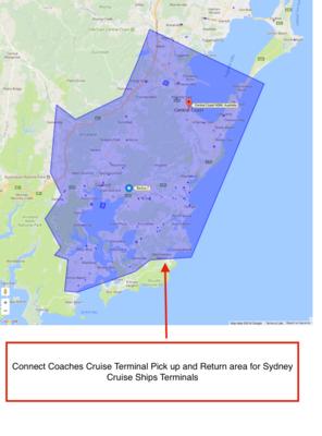 Connect Coaches Public Day Tour Pick up area map