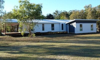 The completed modular home assembled on Stradbroke Island