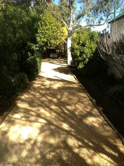 Paths and driveways.