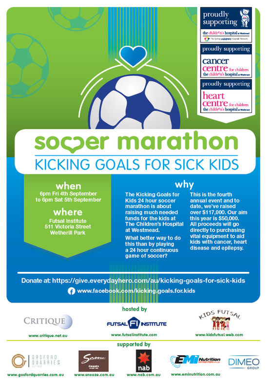 24 hours continuous game of soccer! Kicking Goals for sick kids!