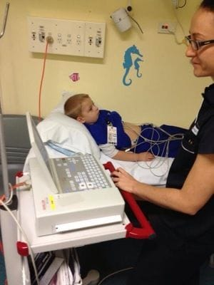 One little patient having an ECG