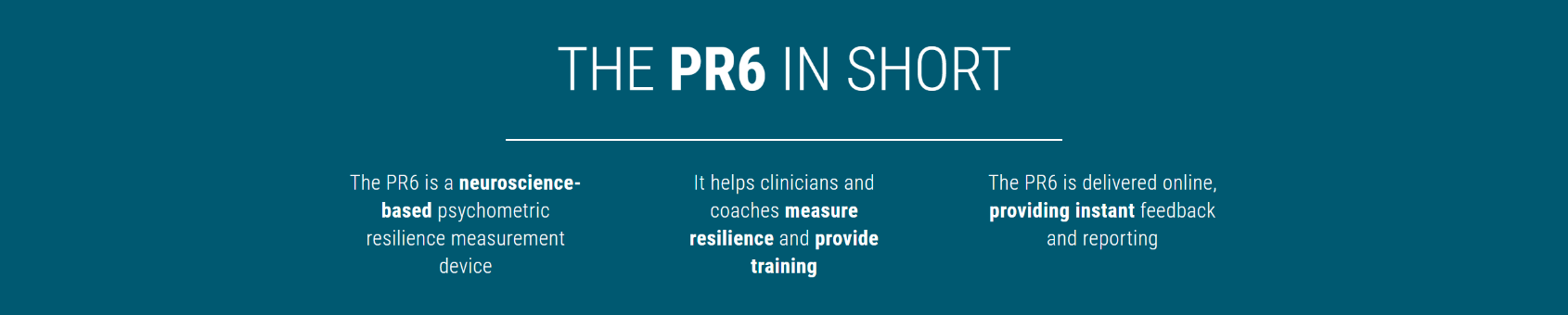 PR6 Resilience Assessment,Certification & Training t Talent Tools