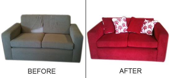 Before and after reupholstery by Troy Lester Chairs