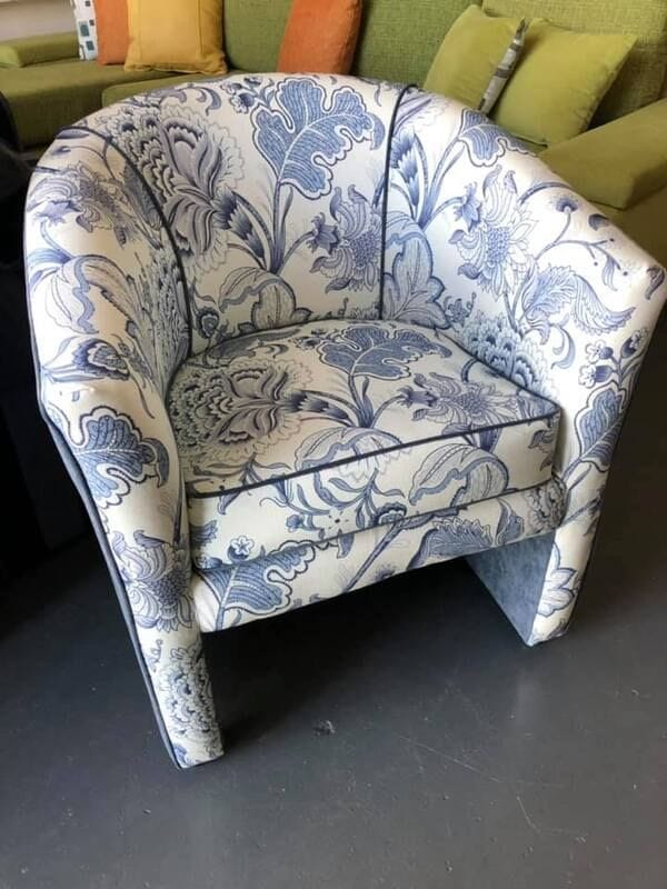 Blue Floral Tub Chair