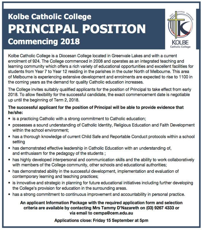 Principal Vacancy - Kolbe College, Victoria