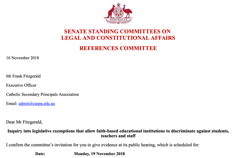 CaSPA presentation to Senate enquiry into Exemption for Faith Based Schools