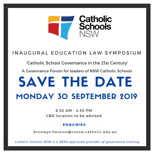 Save the Date - Catholic School Governance in the 21st Century