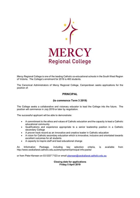 Principal Vacancy - Mercy Regional, Camperdown, Victoria