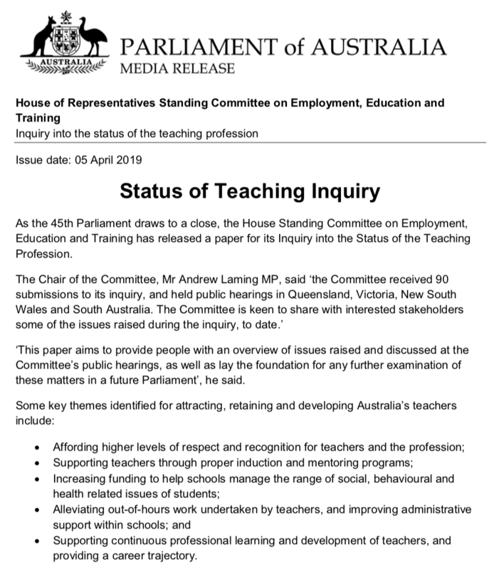 Teaching Profession Inquiry Highlights Problems of sharing among jurisdictions in Education