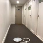 Apartment complex corridor lighting.
