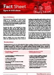 Signs of child abuse Fact Sheet