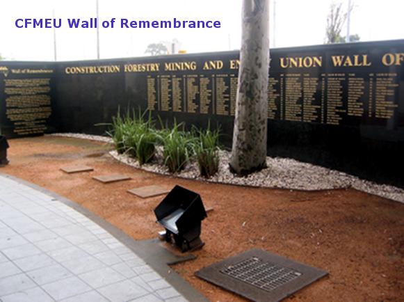 CFMEU Wall of Remembrance