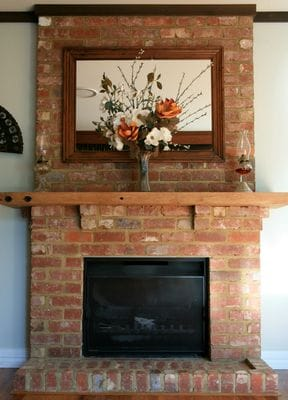 Rustic brick fire mantle