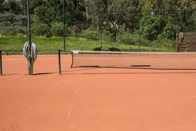 Red porous tennis court