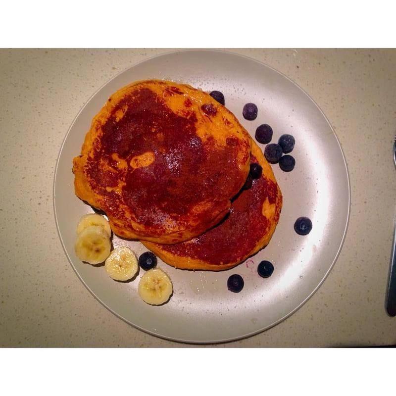 Banana-Sweet Potato Protein Pancakes