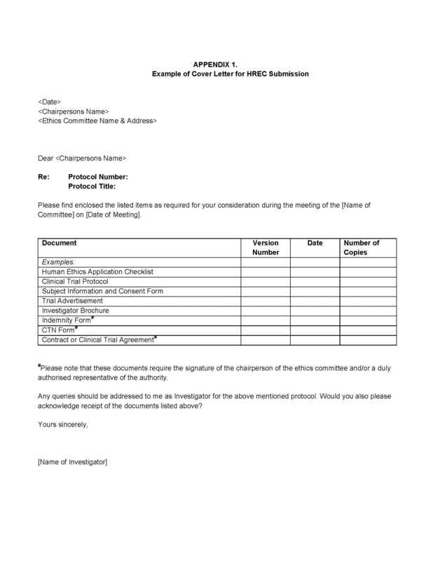 Example cover letter for HREC submission