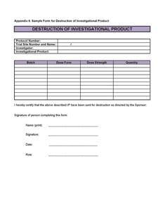 Sample form for Destruction of Investigational Product