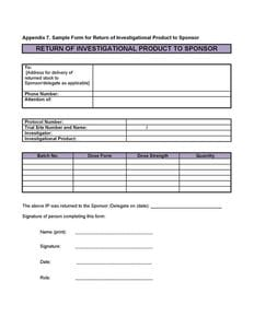 Sample form for Return of Investigational Product to Sponsor