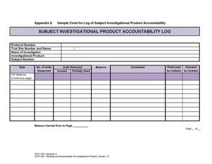 Sample form for Log of Subject Investigational Product Accountability
