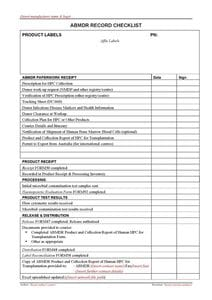 Donor Registry Checklist