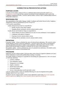 Corrective & Preventative Action Guidance