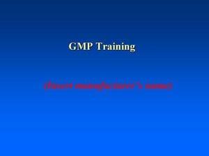 GMP Training Module (PDF)